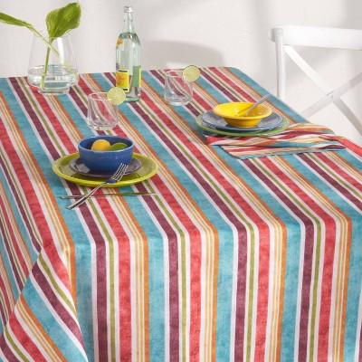 "60"" X 120"" Cameron Stripe Fabric Tablecloth - Fiesta"
