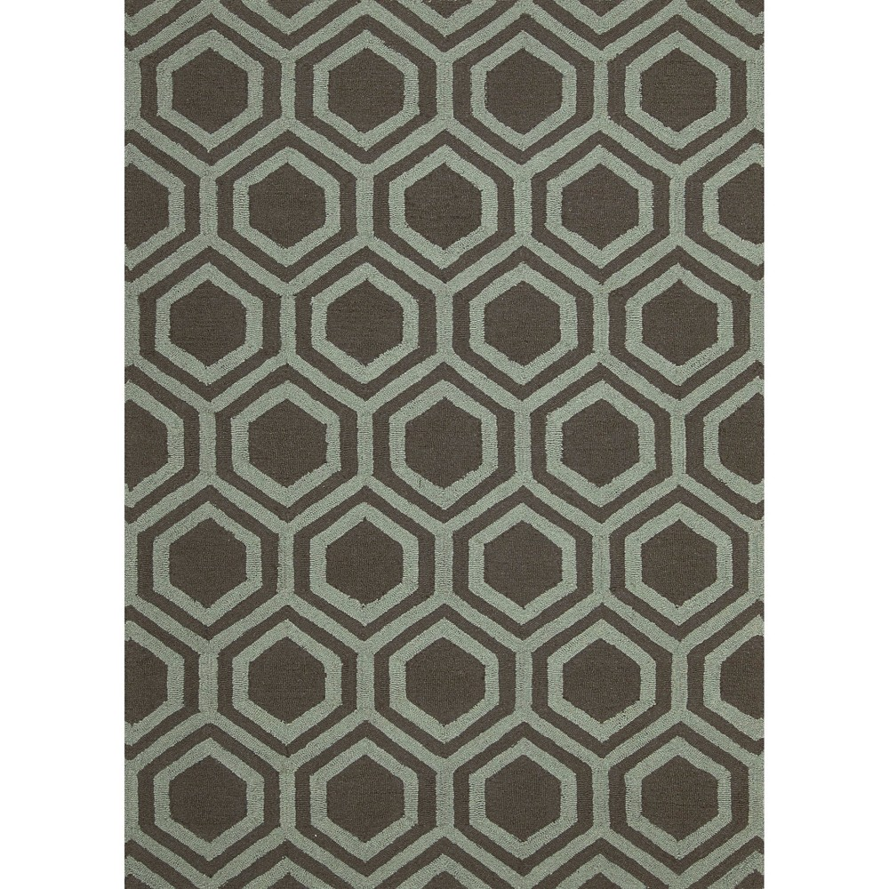 Nourison Hexagon Linear Accent Rug - Gray/Aqua (Gray/Blue) (3'9
