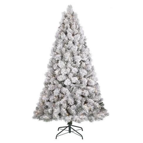 6 5ft Prelit Artificial Christmas Tree Flocked Target