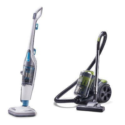 Black and Decker HEPA Corded Steam Mop and Vacuum Cleaner Combination Duo Bundle with Bagless Canister Vacuum Cleaner with HEPA Filter