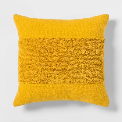 "18""x18"" Modern Tufted Square Throw Pillow Yellow - Project 62™"