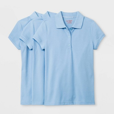 Girls' 3pk Short Sleeve Stretch Pique Uniform Polo Shirt - Cat & Jack™ Light Blue