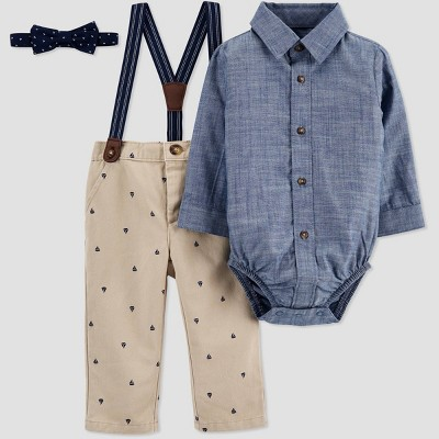 Baby Boys' Easter Dressy Chambray Sailboat Top & Bottom Set - Just One You® made by carter's Blue