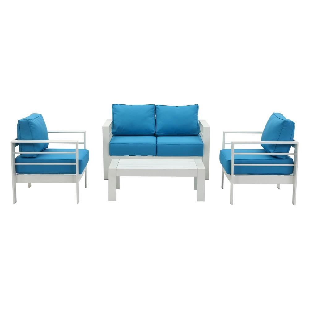 4pc Nason Outdoor Living Set White/Teal (Blue) - Safavieh