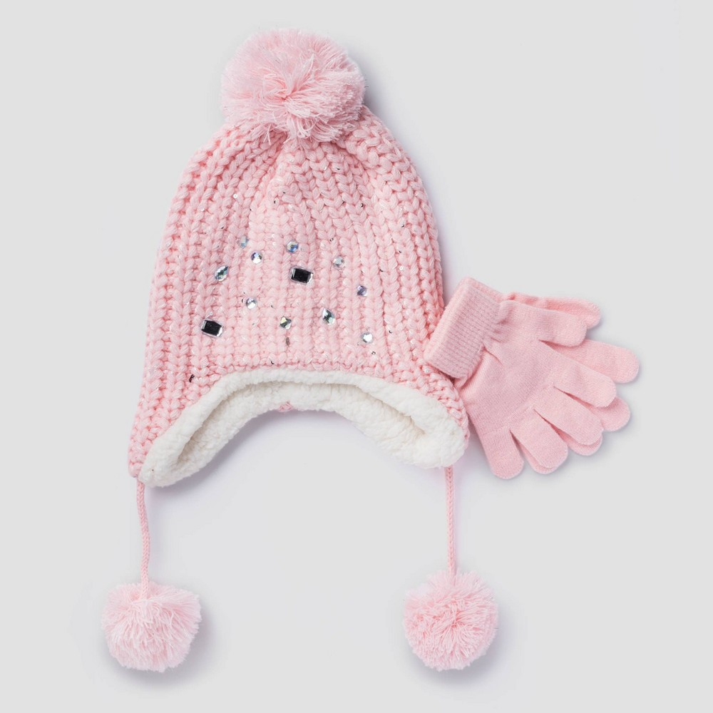 Image of Toddler Trapper & Gloves - Pink One Size, Kids Unisex
