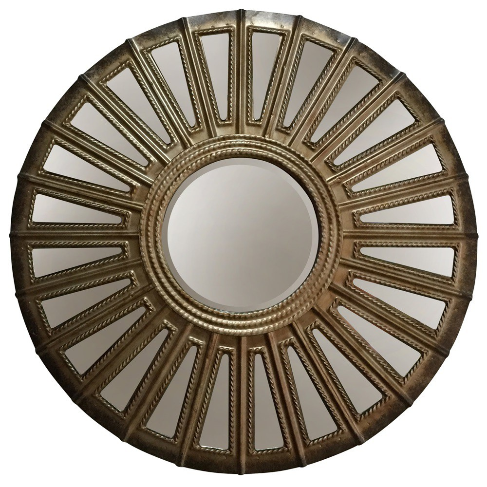 "Image of ""24"""" Round Convex Metal Aged Finish Wall Mirror Silver - StyleCraft"""