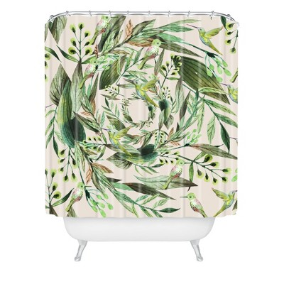 Nature in Circles Shower Curtain Green - Deny Designs