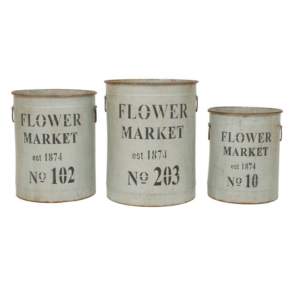 Image of Round Metal Buckets (S-3 18-1-4), Multi-Colored
