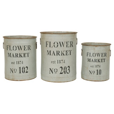 "Round Metal Buckets (S-3 18-1-4"") - image 1 of 2"