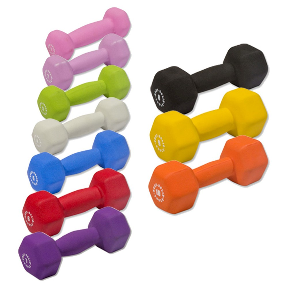 Body Solid Tools Neoprene Dumbell Set 1-10LBS Pairs -(BSTNDS110), Multi-Colored