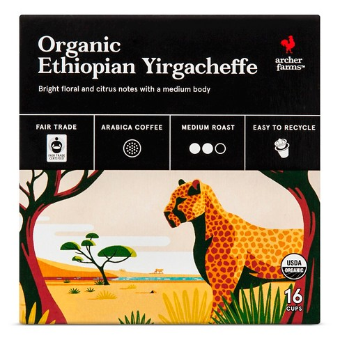 Organic Ethiopian Yirgacheffe Medium Roast Coffee - Single Serve Pods - 16ct - Archer Farms™ - image 1 of 4