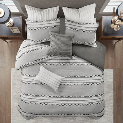 Full/Queen Lennon Organic Cotton Jacquard Comforter Set Charcoal Gray