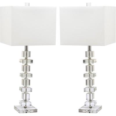 "(Set of 2)28.5"" Deco Crystal Table Lamp Clear (Includes Energy Efficient Light Bulb)- Safavieh"