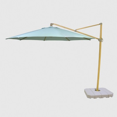 11' Offset Patio Umbrella Aqua - Light Wood Pole - Threshold™