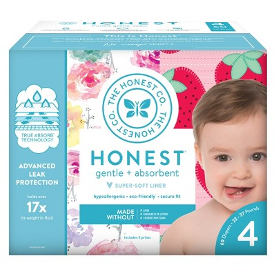 The Honest Company Disposable Diapers Rose Blossoms & Strawberries - Size 4 - 60ct