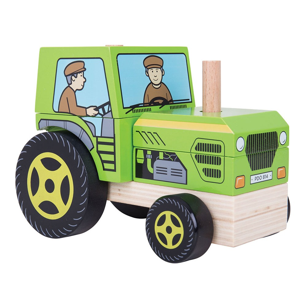Bigjigs Toys Stacking Tractor Wooden Developmental Toy (5pc)