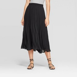 Women's Mid-Rise Pleated Midi Skirt - A New Day™ Black