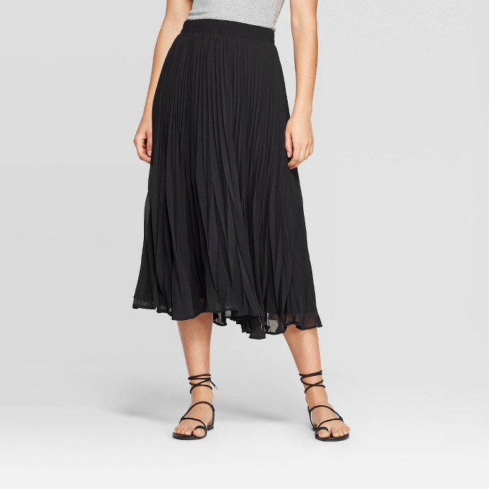 Women's Mid-Rise Pleated Midi Skirt - A New Day™ Black - image 1 of 3
