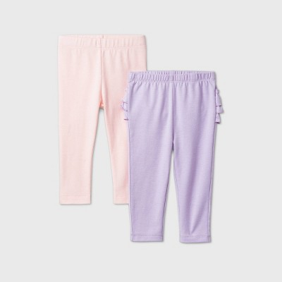 Baby Girls' 2pk Leggings - Cat & Jack™ Pink/Purple Newborn