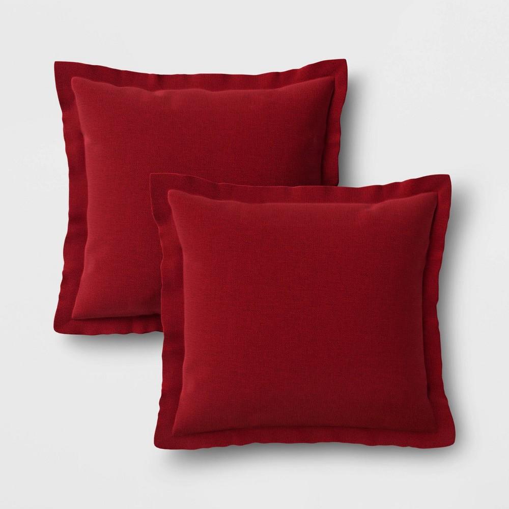 Image of 2pk Outdoor Throw Pillows DuraSeason Fabric Red - Threshold
