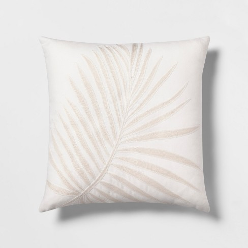 Embroidered Palm With Linen Reverse Square Throw Pillow White - Threshold™ - image 1 of 3