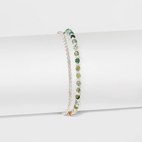 """Women's Silver Plated Fancy Jasper Bead with Pave Disk Bracelet - Silver (8"""") - image 1 of 1"""