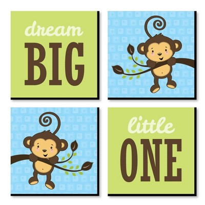 Big Dot of Happiness Blue Monkey Boy - Kids Room, Nursery Decor and Decor - 11 x 11 inches Nursery Wall Art - Set of 4 Prints for baby's room