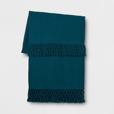 Teal Macrame Trim Oversized End of Bed Throw - Opalhouse™