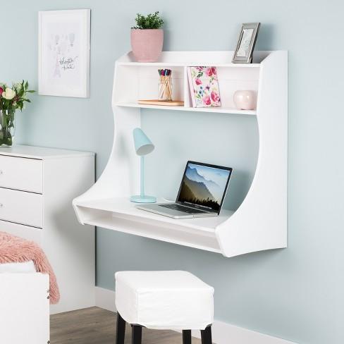 Pleasant Compact Hanging Desk White Prepac Interior Design Ideas Skatsoteloinfo