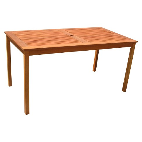 vifah outdoor eucalyptus rectangular dining table brown target. Black Bedroom Furniture Sets. Home Design Ideas