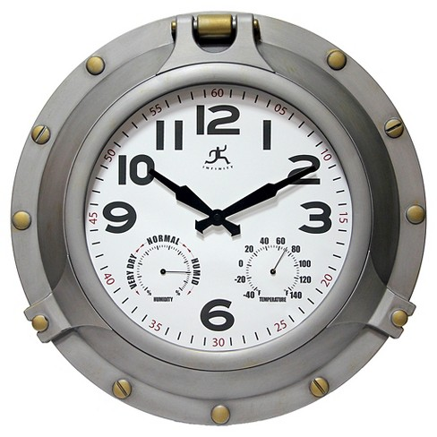 Porthole All Weather Wall Clock Silver/Brass - Infinity Instruments® - image 1 of 3