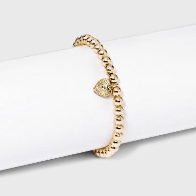 SUGARFIX by BaubleBar Crystal Heart Charm Beaded Bracelet