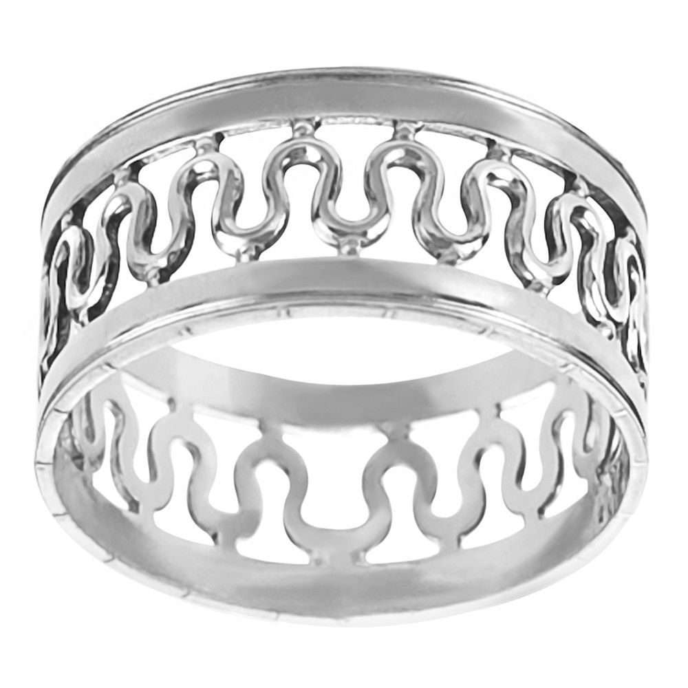 Women's Journee Collection Handcrafted Center Wave Band in Sterling Silver - Silver, 8