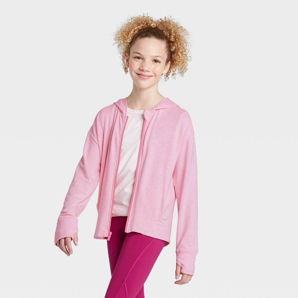 Girls' Soft French Terry Full Zip Hoodie Sweatshirt - All in Motion Pink XS, Girl's was $24.0 now $16.8 (30.0% off)