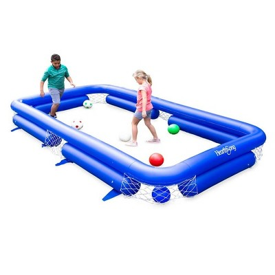 HearthSong Inflatable Soccer Pool Backyard Game for Kids and Adults, Includes Seven Inflatable Balls