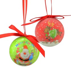 "Northlight 10ct Santa and Reindeer Decoupage Shatterproof Christmas Ball Ornament Set 1.75"" - Red/Green"