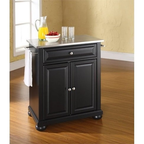 Wood Stainless Steel Top Kitchen Island in Black - Bowery Hill