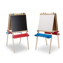 Melissa & Doug® Deluxe Standing Art Easel - Dry-Erase Board, Chalkboard, Paper Roller