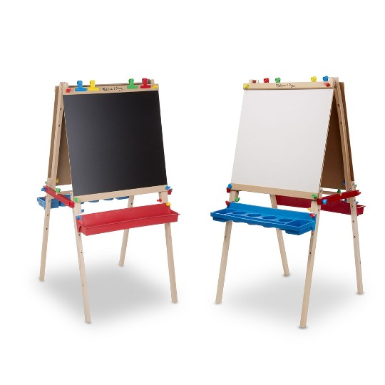 Melissa & Doug Deluxe Standing Art Easel - Dry-Erase Board, Chalkboard, Paper Roller image number null
