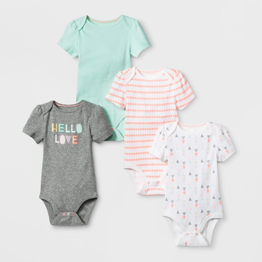 Baby Girls' 4pk Shorts sleeve Bodysuit - Cloud Island Mint 18M, Green