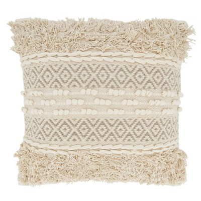 """18""""x18"""" Poly-Filled Corded Moroccan Design Square Throw Pillow Natural - Saro Lifestyle"""