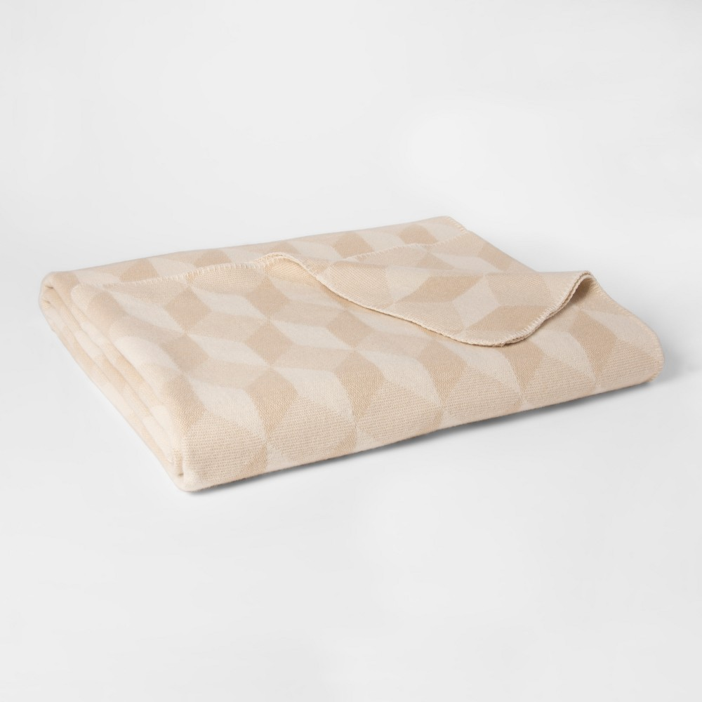 Twin Cotton Modern Printed Bed Blanket Tan - Project 62 + Nate Berkus