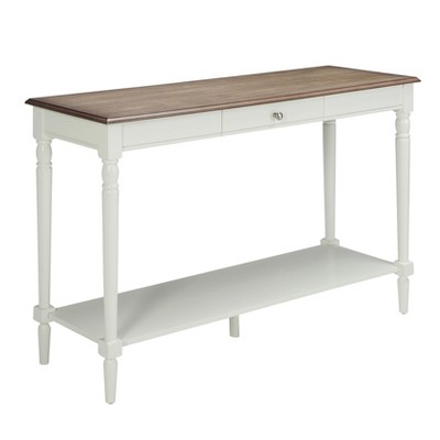 French Country Console Table with Drawer and Shelf - Driftwood / White - Johar Furniture