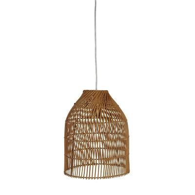 Rattan Small Pendant Diagonal Weave (Includes LED Light Bulb) Tan - Opalhouse™
