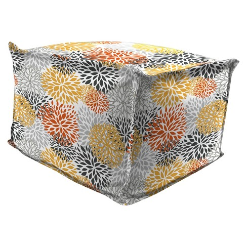 Outdoor Bean Filled Pouf/Ottoman In Blooms Citrus - Jordan Manufacturing - image 1 of 3