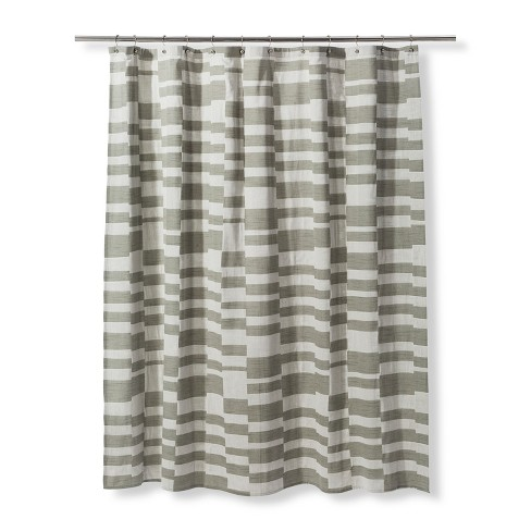 Woven Multisize Block Pattern Shower Curtain Green