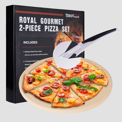 Royal Gourmet 2pc Pizza Set for BBQ  Grill Oven With 13'' Round Pizza Cordierite Stone
