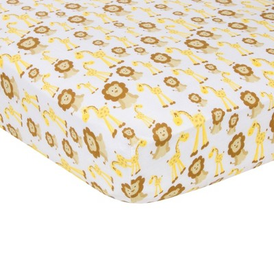 MiracleWare Giraffe & Lion Muslin Crib Sheet Dark Yellow