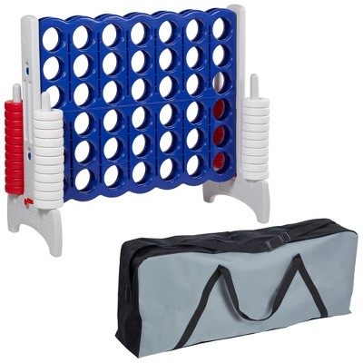 ECR4Kids Jumbo 4-to-Score Giant Game with Carry Bag, Lawn Game, Connect-All-4 - Red, White and Blue