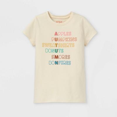 Girls' 'Fall List' Short Sleeve Graphic T-Shirt - Cat & Jack™ Cream